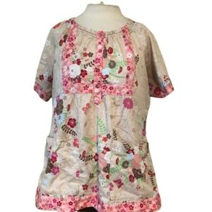 KOI SCRUB Top Colorful Floral Size Large